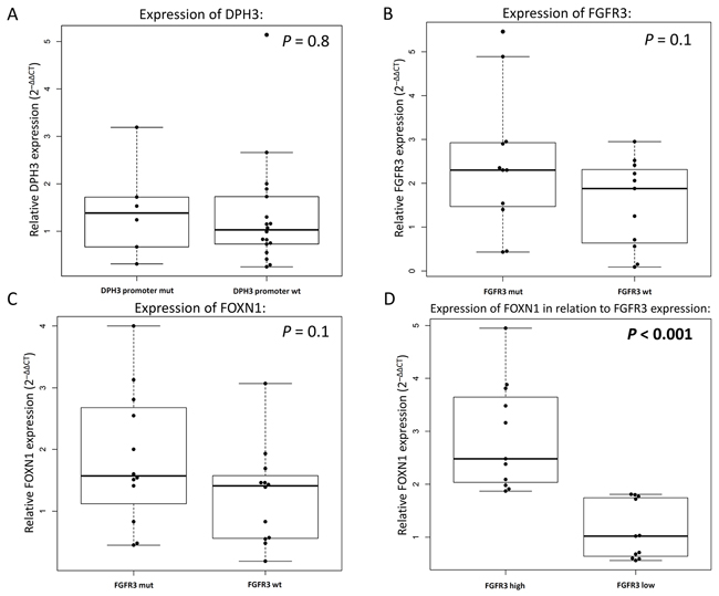 Relative gene expression in seborrheic keratosis measured by quantitative real-time PCR.