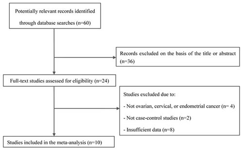 Flow chart of the selection of studies included in the current meta-analysis.