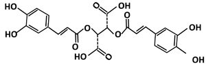 The chemical structure of chicoric acid.
