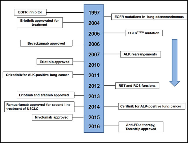 Timeline of EGFR-related drug development.