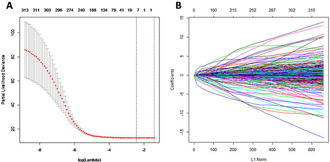 MiRNA selection using the least absolute shrinkage and selection operator (LASSO) binary logistic regression model.
