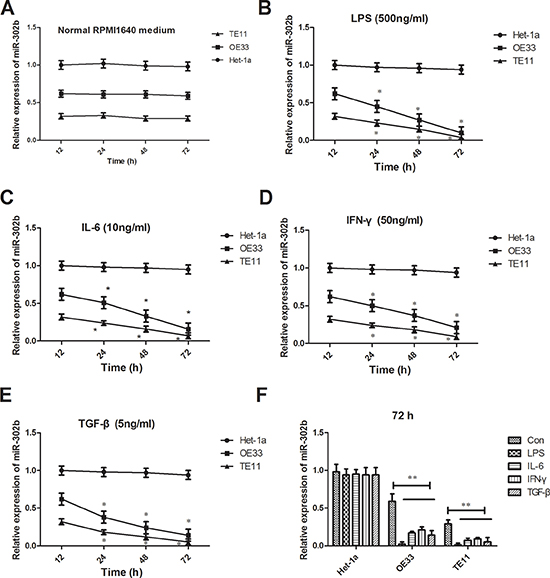 Changes of miR-302b expression reaction to inflammation stimuli.