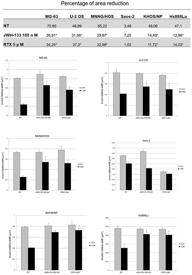 Effects of RTX and JWH-133 on Human OS cell lines migration capacity.