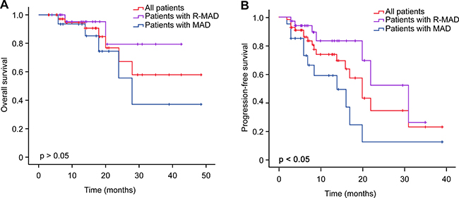 Kaplan-Meier analysis of OS and PFS in PCNSL patients and comparison of OS and PFS between groups with or without rituximab by the log-rank test.