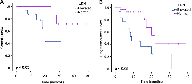 Comparison of OS and PFS between elevated LDH and normal LDH levels.