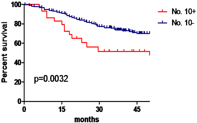 No. 10 LN metastasis and prognosis in the model development group.