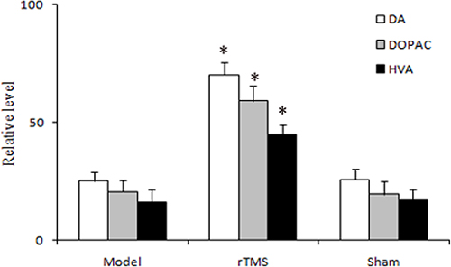 Effects of repetitive transcranial magnetic stimulation (rTMS) treatment on the relative level of dopamine (DA) and its metabolites, 3,4-dihydroxyphenylacetic acid (DOPAC) and homovanilic acid (HVA) in the striatum of the rats induced by lactacystin (n = 6).