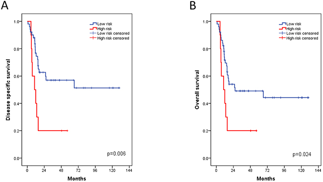 Kaplan-Meier plots of the Chungbuk cohort for disease specific (A) and overall survival (B) associated with the FOXM1 risk stratification.