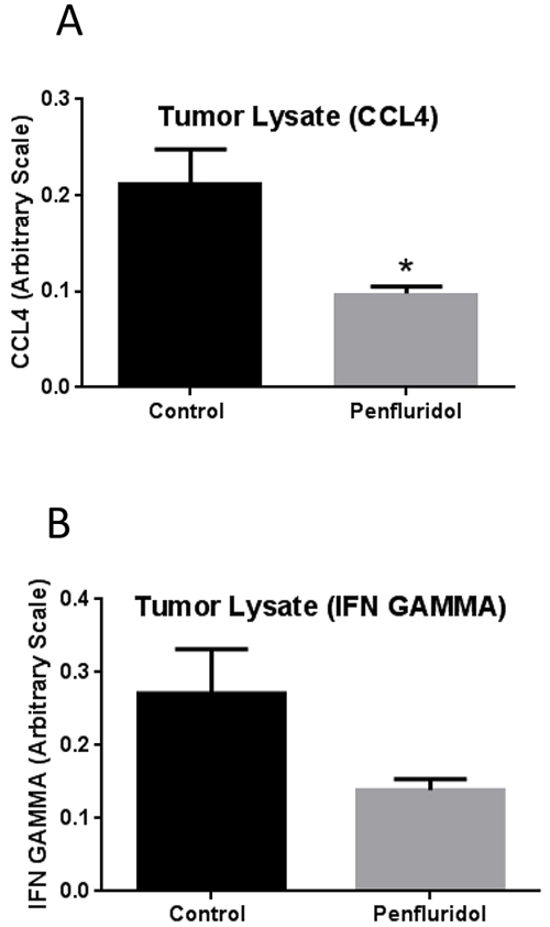 Suppression of tumor inflammation with penfluridol treatment.