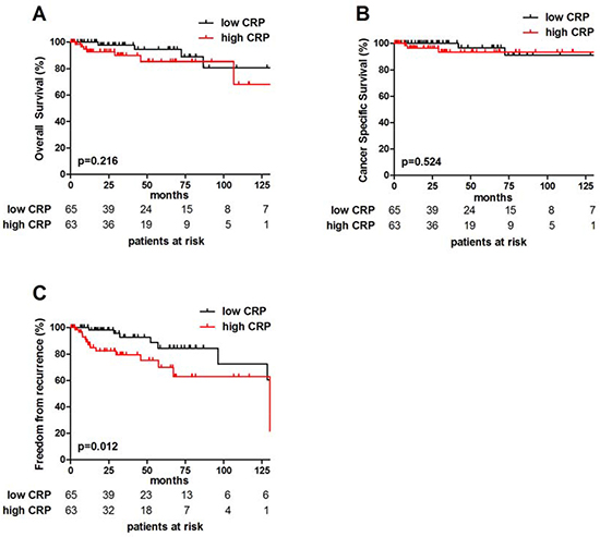Prognostic impact of CRP in TETs.