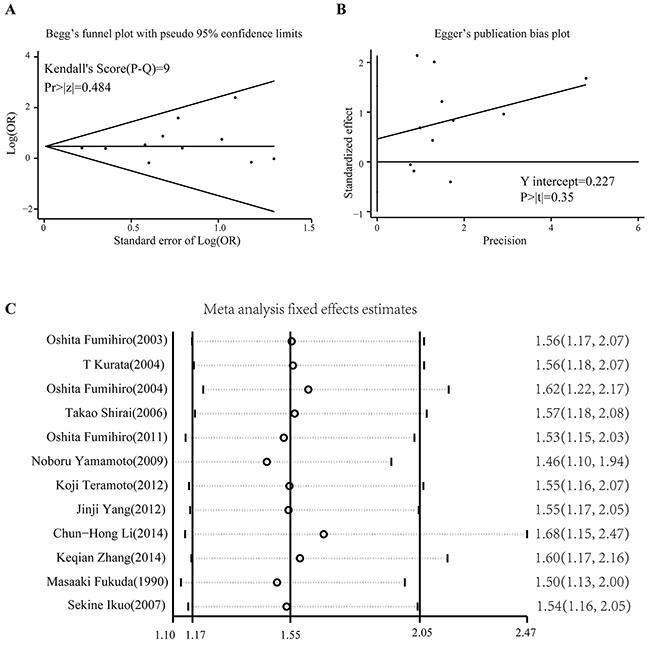 Publication bias test and sensitivity analysis.