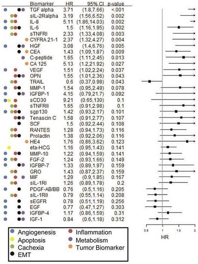 Forest plot of Cox PH regression analysis findings for overall survival in the single-agent chemotherapy cohort.