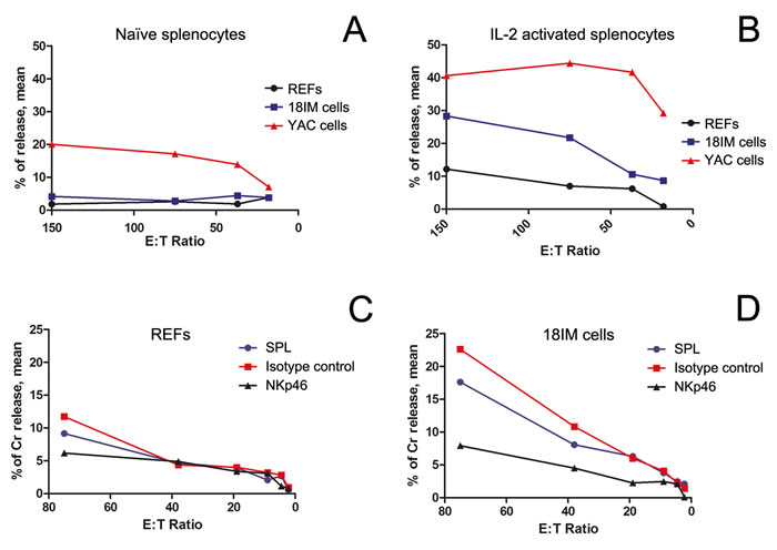 The cytotoxic recognition of REFs and 18IM cells by splenocytes, studied at various splenocyte-to-target-cell (E:T) ratios.