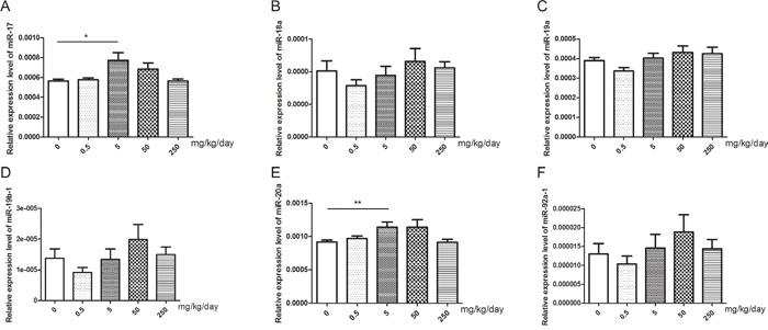 Changes of miR-17-92 expression in mice testis after treated with GEN at different doses.