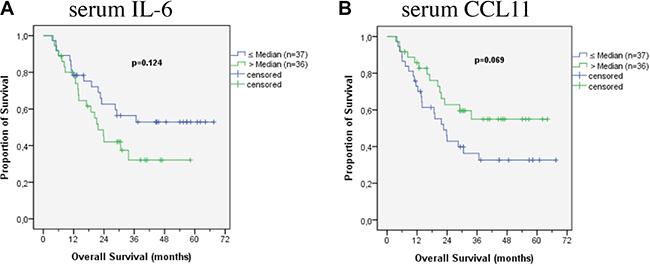 Survival according to cytokines in patients' serum.