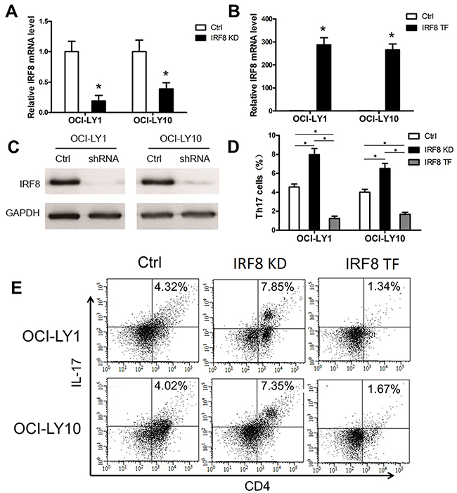 The decline of IRF8 in DLBCL cell lines promoted the generation of Th17 cells and the increase of IRF8 inhibited it in vitro.