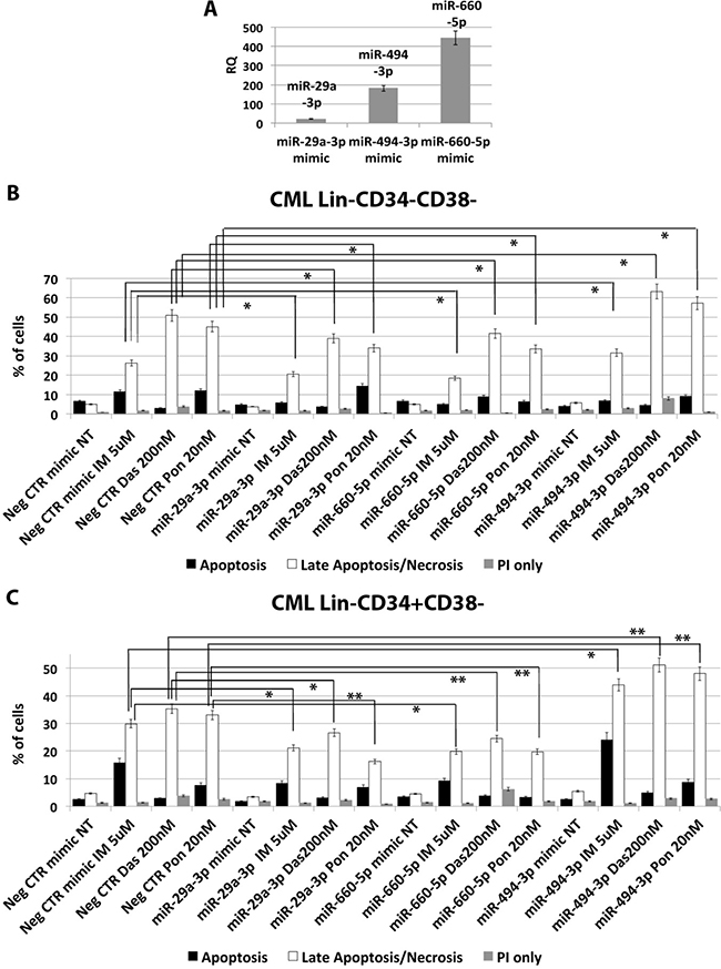 miR-29a-3p, miR-660-5p and miR494-3p overexpression in HSPCs isolated from CML patients.