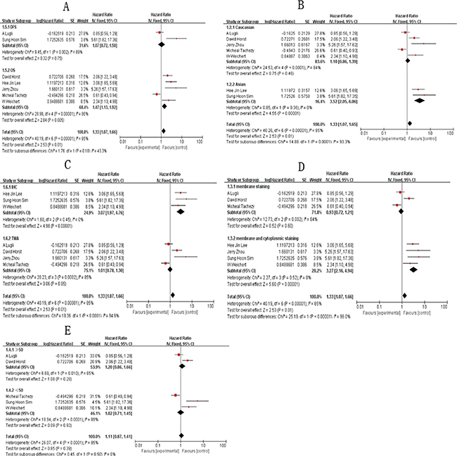 Subgroup analysis results showing association of ALCAM overexpression and overall survival of CRC patients.