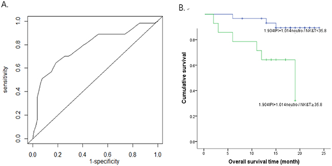 Survival analysis using a model constructed by mature neutrophils/cytotoxic NK&T cells and IPI.