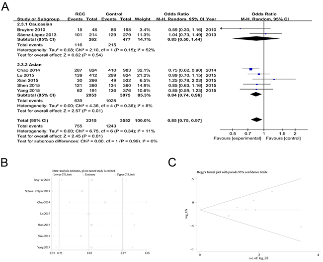 The association of rs2010963 polymorphism with RCC susceptibility in the GG vs. GC+CC model.
