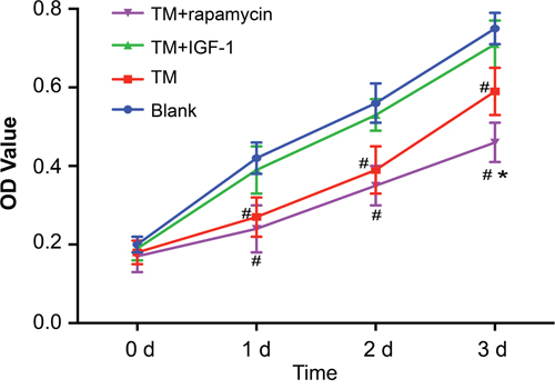 Proliferation of U266 cells in the blank, TM, TM + rapamycin and TM + IGF-1 groups detected by CKK-8 assay at 0 d, 1 d, 2 d and 3 d.