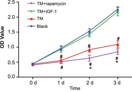 Detection of proliferation of MOLP-2/R cells in the blank, TM, TM + rapamycin and TM + IGF-1 groups by CCK-8 assay.