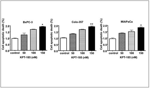 KPT-185 induces apoptosis in PC cells.