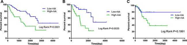 Kaplan–Meier curves for prognostic value of risk-score signature according to histologic subtypes.