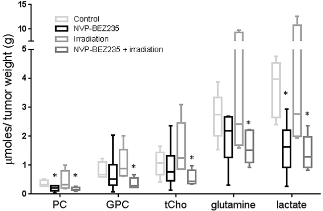 NMR biomarkers after NVP-BEZ235 / irradiation combination treatment in tumor extracts of an aGBM model.