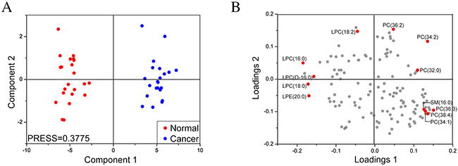 Partial least squares-discriminant analysis of lipid profiles of sera from MF and control subjects.