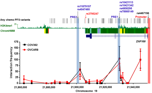 Two regions containing candidate all chemo PFS candidate variants interact with the