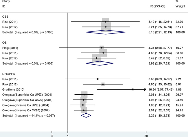 Meta-analysis of HRs for the association of the presence of CTCs with CSS, OS and DFS/PFS.