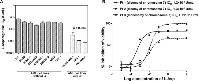 L-Asp sensitivity of AML cell lines and primary AML cells with or without -7.