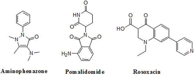 The structures of the Aminophenazone, Pomalidomide and Rosoxacin.
