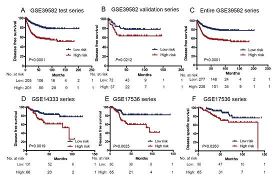 Kaplan–Meier estimates of the disease free survival (DFS) or disease specific survival (DSS) of GEO patients using the six-lncRNA signature.