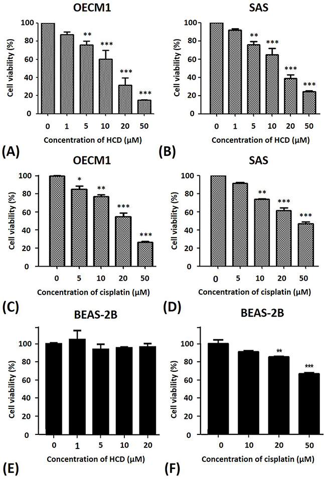 Alterations of the cell viability of OECM1 and SAS cells after HCD and cisplatin treatments.