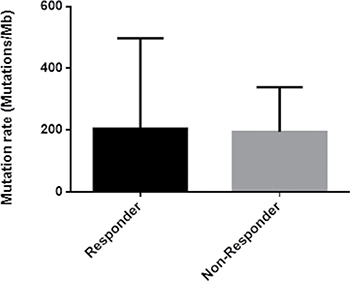 Histogram of the mutation rate in responder and non-responder group.