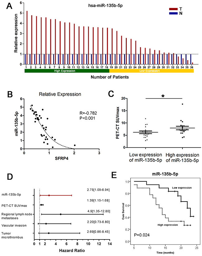Upregulation of miR-135b-5p in PDAC and its clinical implications.