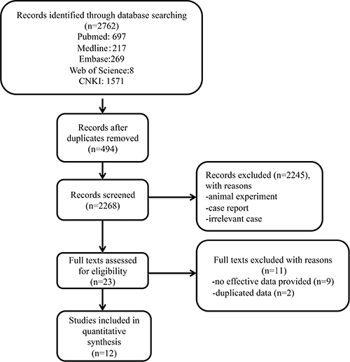 A Flow diagram showing the selection of studies.