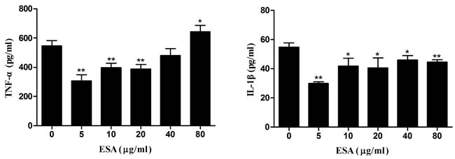 Production of pro-inflammatory cytokines in Ana-1 cells.