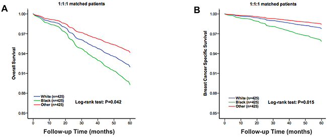 The overall survival and breast cancer specific survival of the 1:1:1 matched groups of the White, Black and other race patients.