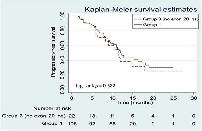 Kaplan-Meier progression-free survival (PFS) curves of patients in Group 1 vs. Group 3 (no exon 20 insertion [20-INS]).