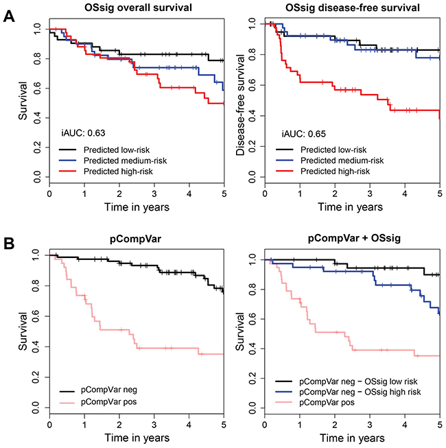 The overall survival signature (OSsig) predicts overall survival and disease-free survival, also in low-risk patients.