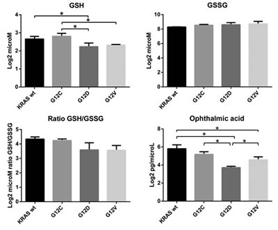 Intracellular concentrations of reduced glutathione (GSH, log2 microM), oxidized glutathione (GSSG, log2 microM), and ophthalmic acid (OPA, log2 pg/microL) in overexpressing KRAS mutant clones G12C, G12D, G12V and WT.