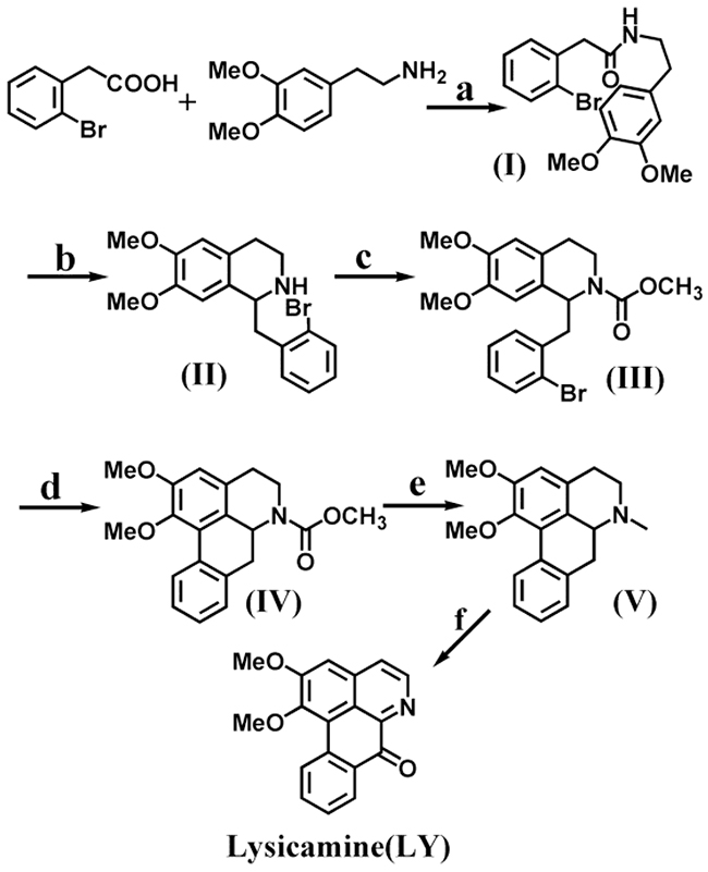 Synthetic routes of lysicamine (LY).