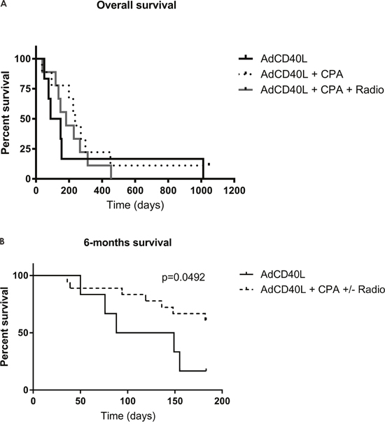 Survival curves for malignant melanoma patients treated with AdCD40L.