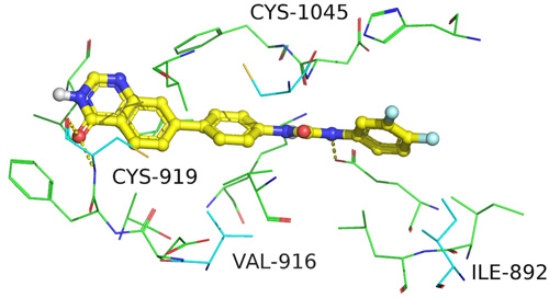 Docked molecule QDAU5 (yellow sticks) and residues within 4Å in the crystal structure of VEGFR-2.