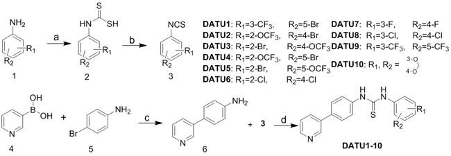 Scheme 1: Synthesis of diaryl thiourea derivatives DATU1-10