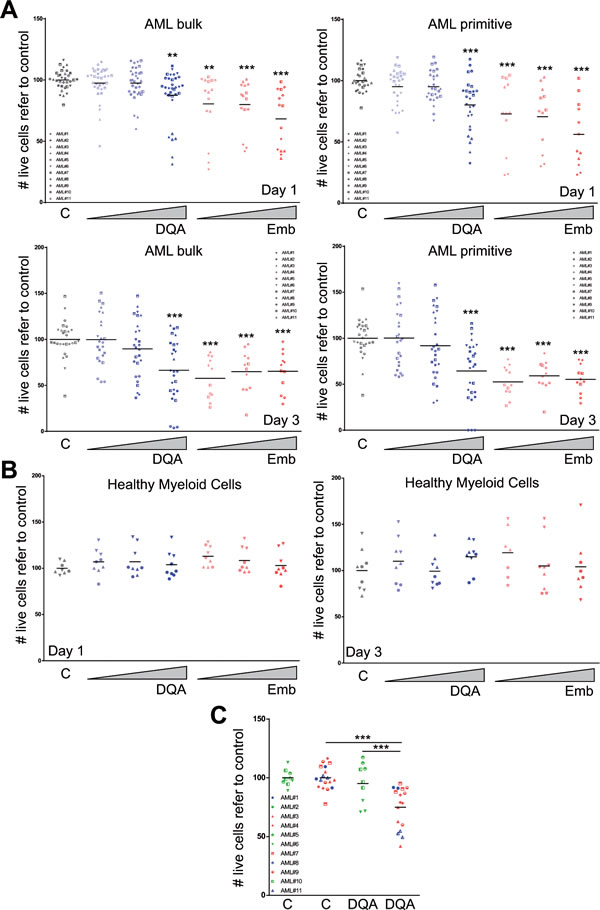 DQA and embelin treatment induces cell death in AML primary blasts by preferentially affecting LSC population and reduces clonogenic capacity.