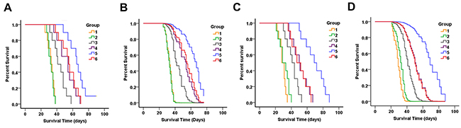 Therapeutic efficacy of PAMAM-PEG-Tf/TMZ in nude BALB/c mice bearing intracranial SU2 (A for Kaplan-Meier curves and B for Cox survival plots) and 51A (C for Kaplan-Meier curves and D for Cox survival plots) cellular xenografts.